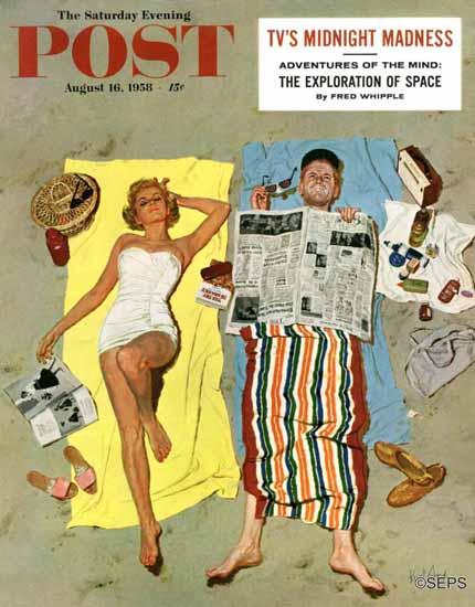 Kurt Ard Saturday Evening Post Sunscreen 1958_08_16 | The Saturday Evening Post Graphic Art Covers 1931-1969