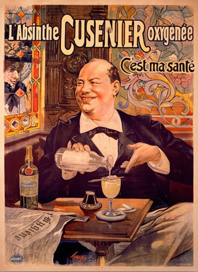 L Absinthe Oxygenee C Est Ma Sante Tamagno | Vintage Ad and Cover Art 1891-1970