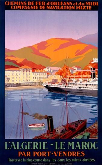 L Algerie Le Maroc Port-Vendres | Vintage Travel Posters 1891-1970