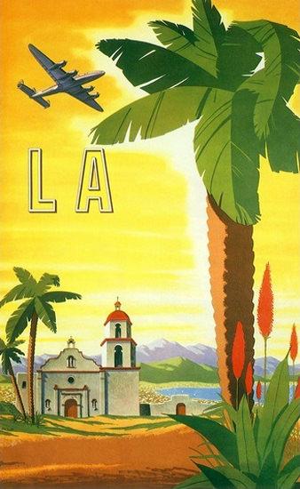 LA Los Angeles Mission Palmtree Airplane Sea | Vintage Travel Posters 1891-1970