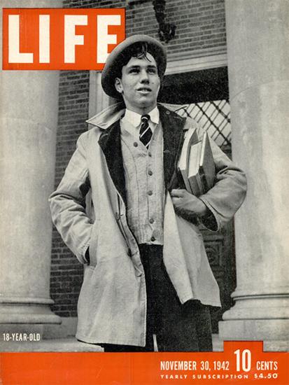 LIFE is 18 Years old 30 Nov 1942 Copyright Life Magazine | Life Magazine BW Photo Covers 1936-1970