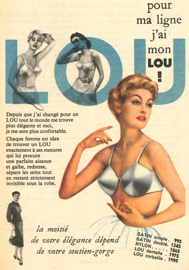 LOU Bra Lingerie Pour Ma Ligne J Ai Mon Lou | Sex Appeal Vintage Ads and Covers 1891-1970