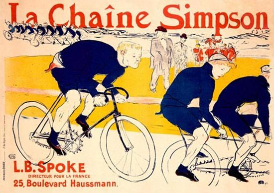 La Chaine Simpson Bike Chains Toulouse Lautrec | Vintage Ad and Cover Art 1891-1970