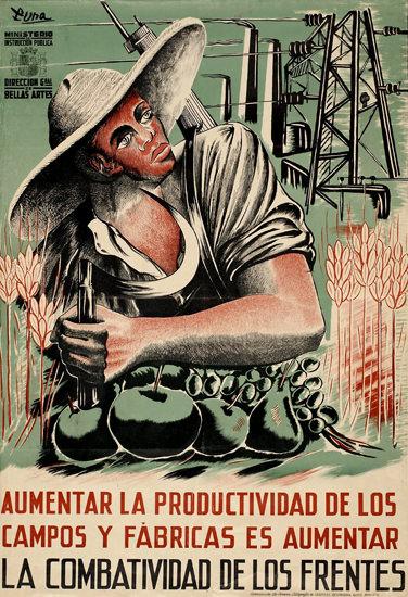 La Combativitad De Los Frentes 1937 Aumentar | Vintage War Propaganda Posters 1891-1970