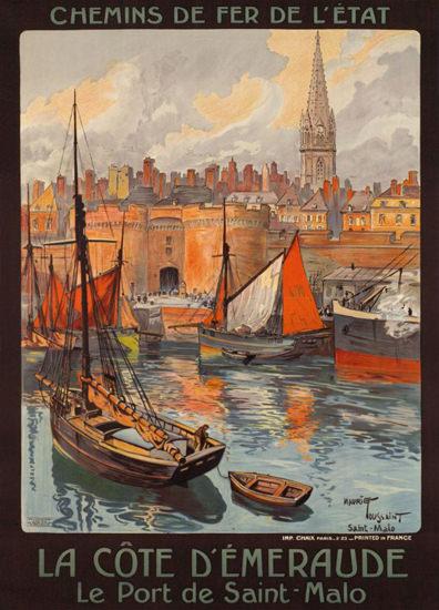 La Cote Emeraude Le Port De St Malo 1920 | Vintage Travel Posters 1891-1970