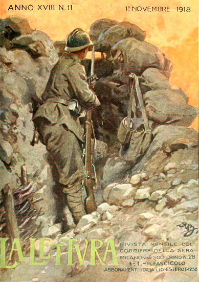 La Lettura Novembre 1918 | Vintage War Propaganda Posters 1891-1970