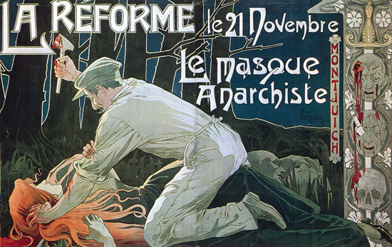 La Reforme Le Masque Anarchiste France | Vintage War Propaganda Posters 1891-1970
