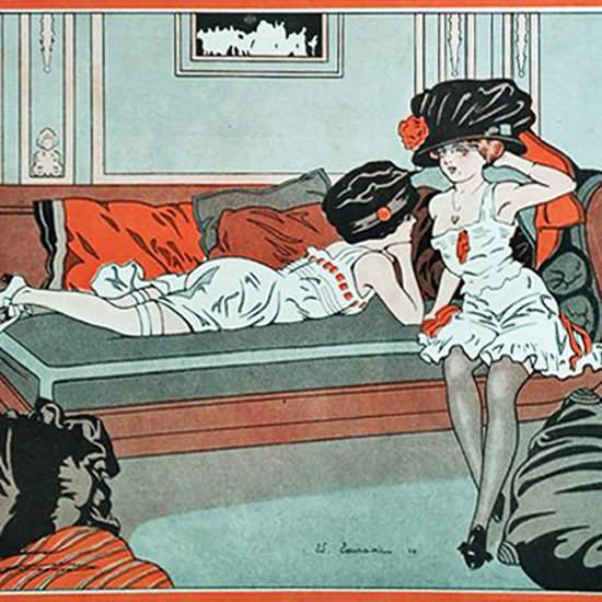 La Vie Parisienne 1910 Deux Cailles Sur Canape Edouard Touraine crop | Best of Vintage Cover Art 1900-1970