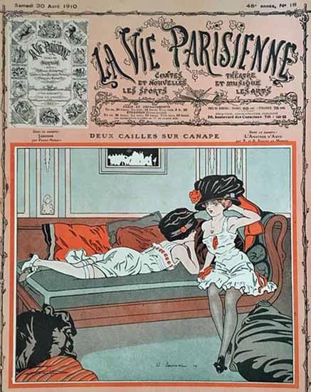 La Vie Parisienne 1910 Deux Cailles Sur Canape Edouard Touraine | La Vie Parisienne Erotic Magazine Covers 1910-1939