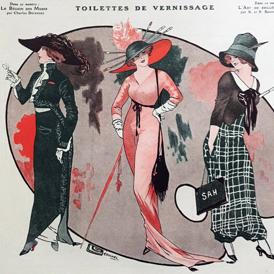 La Vie Parisienne 1911 Vernissage Georges Leonnec crop | Best of Vintage Cover Art 1900-1970
