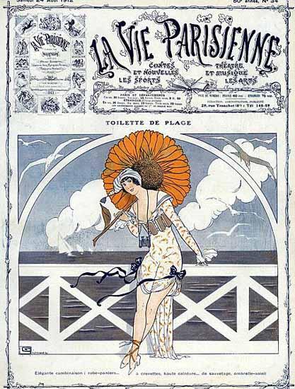 La Vie Parisienne 1912 Toilette De Plage Georges Leonnec   La Vie Parisienne Erotic Magazine Covers 1910-1939