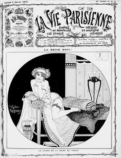 La Vie Parisienne 1913 La Reine Boit Joseph Kuhn-Regnier | La Vie Parisienne Erotic Magazine Covers 1910-1939