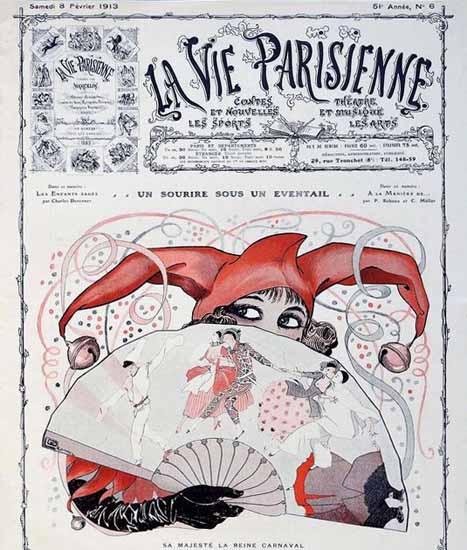 La Vie Parisienne 1913 La Reine Carnaval Georges Leonnec | La Vie Parisienne Erotic Magazine Covers 1910-1939