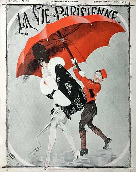 La Vie Parisienne 1913 Le Parapluie Rouge Georges Leonnec   La Vie Parisienne Erotic Magazine Covers 1910-1939