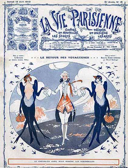 La Vie Parisienne 1913 Le Retour Georges Leonnec | La Vie Parisienne Erotic Magazine Covers 1910-1939