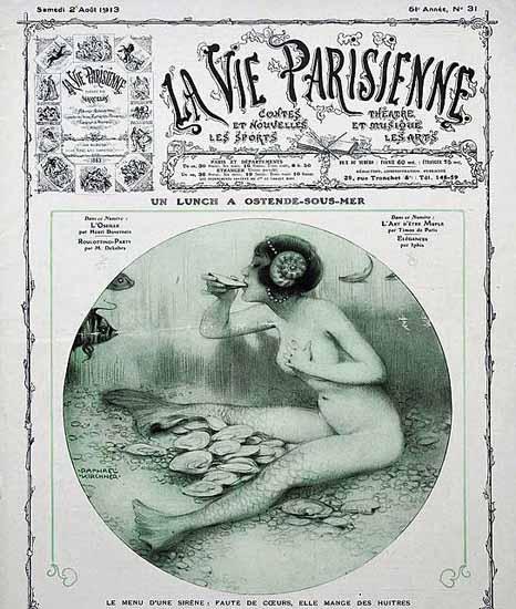 La Vie Parisienne 1913 Lunch A Ostende-Sous-Mer Raphael Kirchner | La Vie Parisienne Erotic Magazine Covers 1910-1939