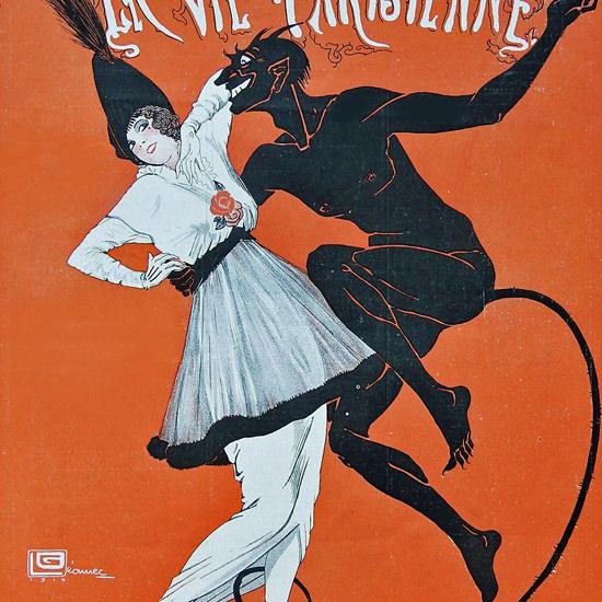 La Vie Parisienne 1914 La Belle Et La Bete Georges Leonnec crop | Best of Vintage Cover Art 1900-1970
