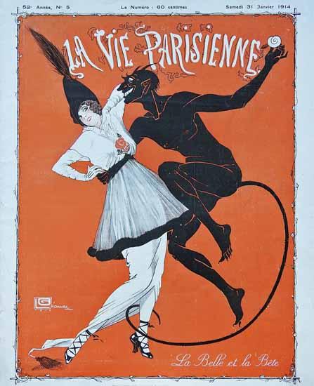 La Vie Parisienne 1914 La Belle Et La Bete Georges Leonnec | La Vie Parisienne Erotic Magazine Covers 1910-1939