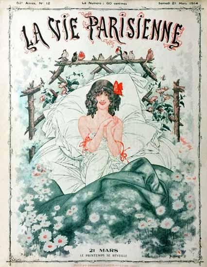 La Vie Parisienne 1914 Le Printemps Se Reveille Cheri Herouard   La Vie Parisienne Erotic Magazine Covers 1910-1939