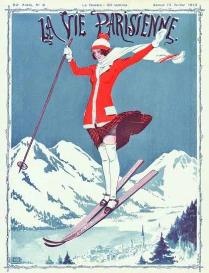 La Vie Parisienne 1914 Sauteur A Skis Georges Leonnec | La Vie Parisienne Erotic Magazine Covers 1910-1939