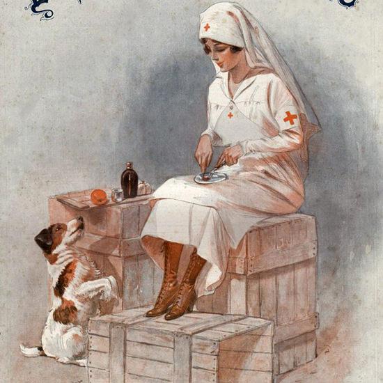 La Vie Parisienne 1915 A La Guerre Armand Vallee crop | Best of Vintage Cover Art 1900-1970