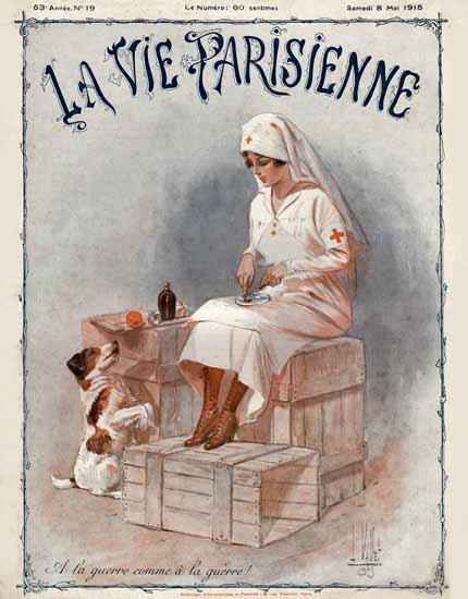 La Vie Parisienne 1915 A La Guerre Armand Vallee | La Vie Parisienne Erotic Magazine Covers 1910-1939