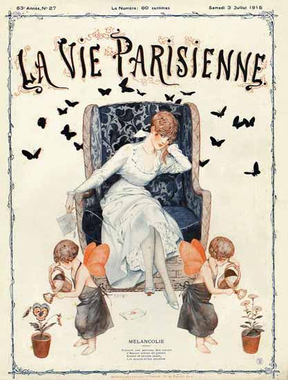 La Vie Parisienne 1915 Melancolie Cheri Herouard | La Vie Parisienne Erotic Magazine Covers 1910-1939