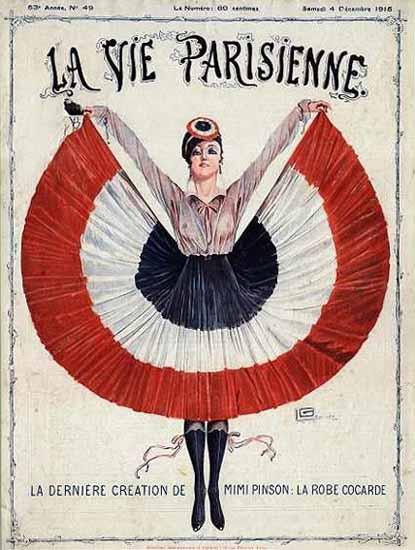 La Vie Parisienne 1915 Mimi Pinson La Robe Cocarde Georges Leonnec | La Vie Parisienne Erotic Magazine Covers 1910-1939