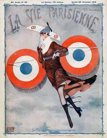 La Vie Parisienne 1916 Aeroplane Georges Leonnec | La Vie Parisienne Erotic Magazine Covers 1910-1939