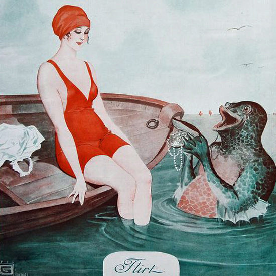 La Vie Parisienne 1916 Flirt Georges Leonnec crop | Best of Vintage Cover Art 1900-1970