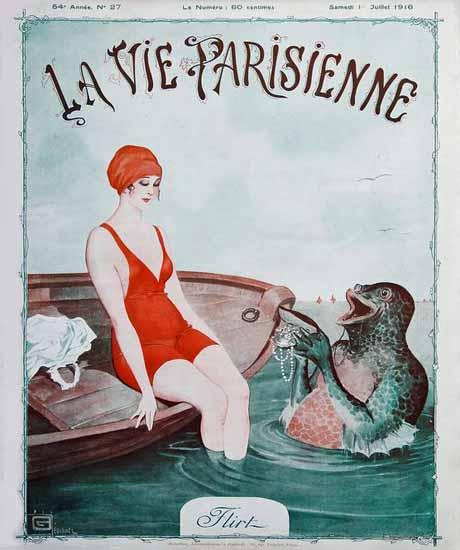 La Vie Parisienne 1916 Flirt Georges Leonnec | La Vie Parisienne Erotic Magazine Covers 1910-1939
