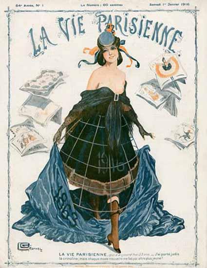 La Vie Parisienne 1916 Janvier 1er Georges Leonnec | La Vie Parisienne Erotic Magazine Covers 1910-1939