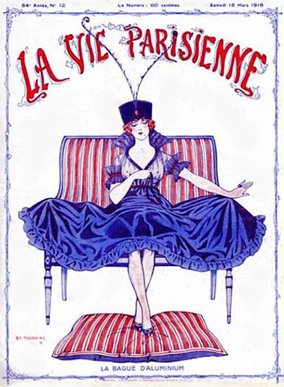 La Vie Parisienne 1916 La Bague D Aluminium Edouard Touraine   La Vie Parisienne Erotic Magazine Covers 1910-1939
