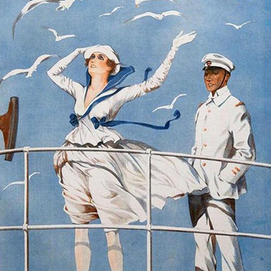 La Vie Parisienne 1916 La Brise Nautique Georges Leonnec crop | Best of Vintage Cover Art 1900-1970