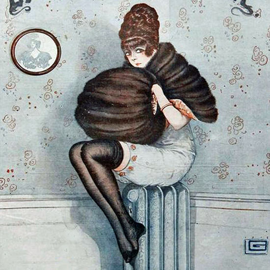 La Vie Parisienne 1916 La Crise Du Chauffage Georges Leonnec crop | Best of Vintage Cover Art 1900-1970