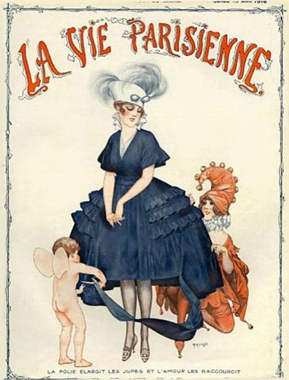 La Vie Parisienne 1916 La Folie Elargit Les Jupes Cheri Herouard | La Vie Parisienne Erotic Magazine Covers 1910-1939