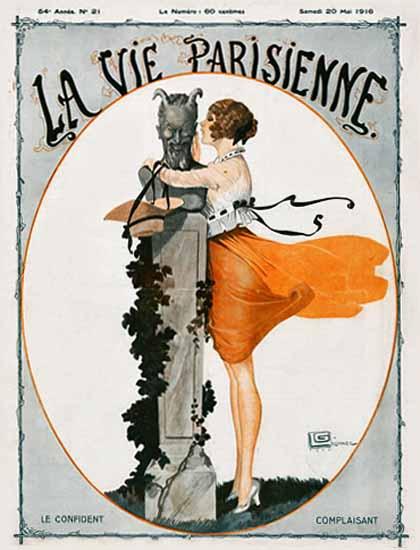La Vie Parisienne 1916 Le Confident Georges Leonnec   La Vie Parisienne Erotic Magazine Covers 1910-1939