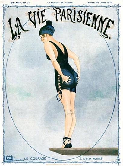 La Vie Parisienne 1916 Le Courage A Deux Mains Georges Leonnec | La Vie Parisienne Erotic Magazine Covers 1910-1939