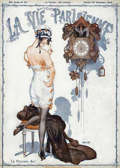 La Vie Parisienne 1916 Le Nouvel An Cheri Herouard | La Vie Parisienne Erotic Magazine Covers 1910-1939