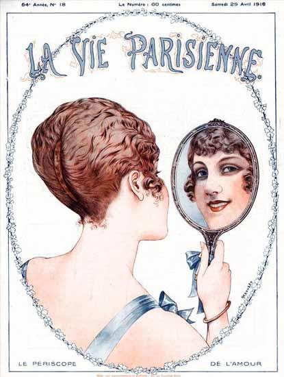 La Vie Parisienne 1916 Le Periscope De L Amour Cheri Herouard | La Vie Parisienne Erotic Magazine Covers 1910-1939