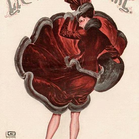 La Vie Parisienne 1916 Une Coup De Vent Georges Leonnec crop | Best of Vintage Cover Art 1900-1970