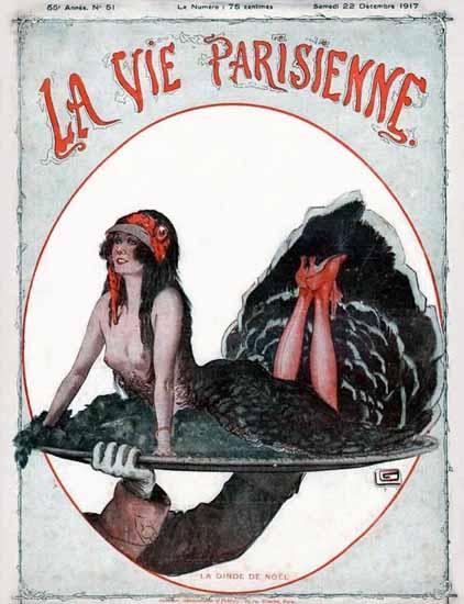 La Vie Parisienne 1917 La Dinde De Noel Georges Leonnec | La Vie Parisienne Erotic Magazine Covers 1910-1939