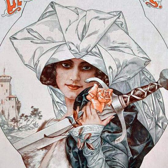 La Vie Parisienne 1917 La Marraine Du Chevalier Cheri Herouard crop | Best of Vintage Cover Art 1900-1970
