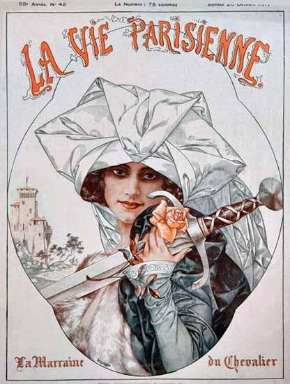 La Vie Parisienne 1917 La Marraine Du Chevalier Cheri Herouard | La Vie Parisienne Erotic Magazine Covers 1910-1939