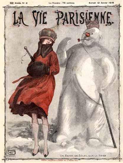 La Vie Parisienne 1918 La Neige Georges Leonnec   La Vie Parisienne Erotic Magazine Covers 1910-1939