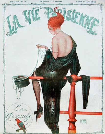 La Vie Parisienne 1918 La Perruche Georges Leonnec | La Vie Parisienne Erotic Magazine Covers 1910-1939
