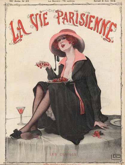 La Vie Parisienne 1918 Les Cerises Georges Leonnec | La Vie Parisienne Erotic Magazine Covers 1910-1939