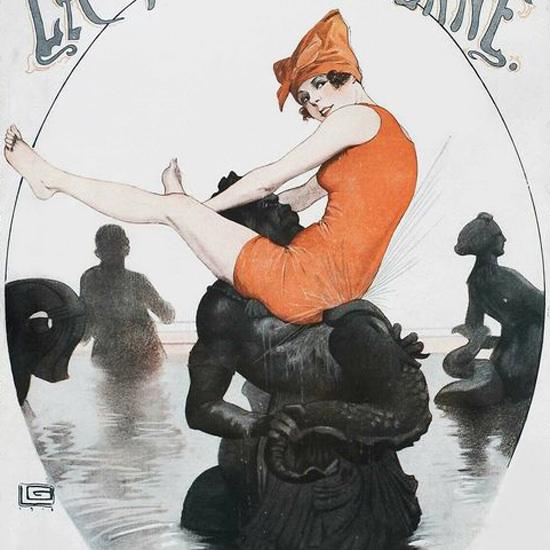 La Vie Parisienne 1918 Paris Port De Mer Georges Leonnec crop | Best of Vintage Cover Art 1900-1970