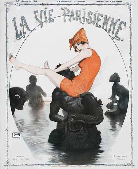 La Vie Parisienne 1918 Paris Port De Mer Georges Leonnec | La Vie Parisienne Erotic Magazine Covers 1910-1939