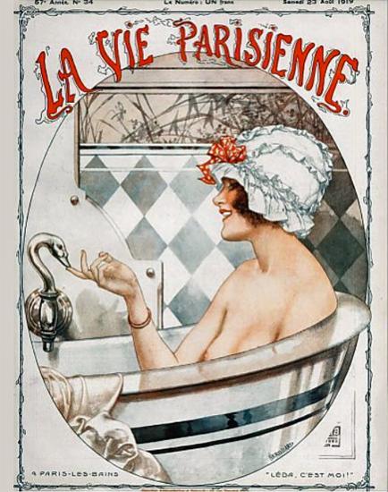 La Vie Parisienne 1919 A Paris-Les-Bains Cheri Herouard   La Vie Parisienne Erotic Magazine Covers 1910-1939
